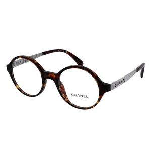 CHANEL - ROUND EYEGLASSES WITH CASE IN TORTOISE